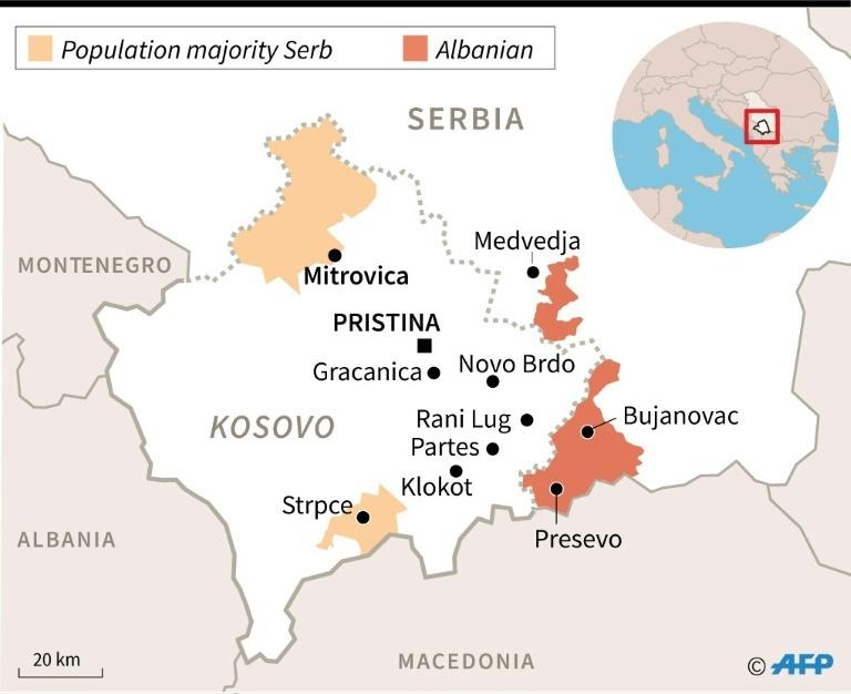 Map showing the border between Serbia and Kosovo and zones with a majority population of Serbs or Albanians