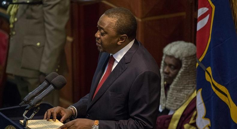 President Uhuru Kenyatta in parliament while making the State of the Nation address in 2019.