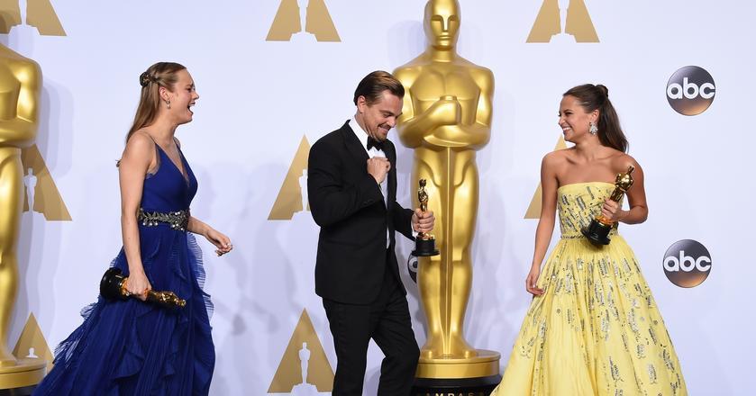 Zeszłoroczni zwycięzcy - Brie Larson, Leonardo DiCaprio i Alicia Vikander
