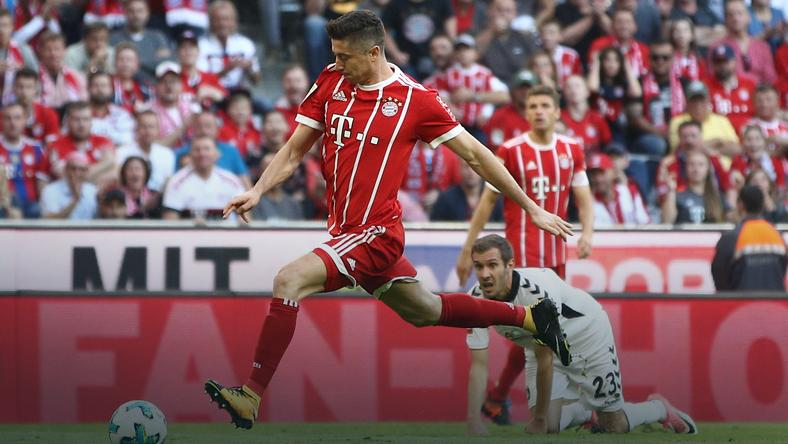 Robert Lewandowski w meczu z SC Freiburg