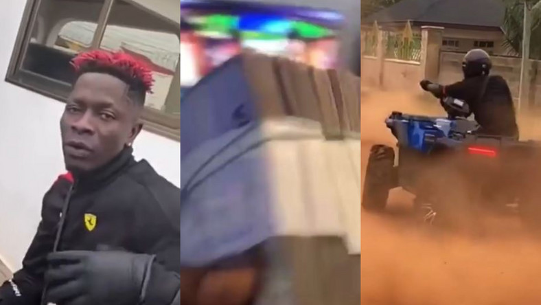 Shatta Wale turns 'deliveryman', pulls up at Medikal's house with stacks of cash (WATCH)