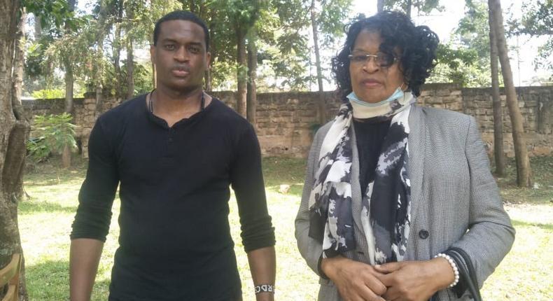 Margaret Kerubo Chweya with her son Rodney Nyachae