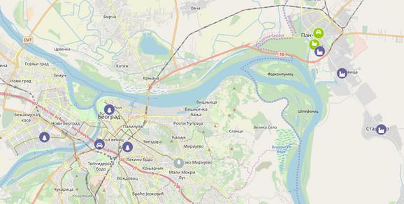 Ljubičaste tačke pokazuju maksimalni stepen zagađenja u Beogradu i Pančevu