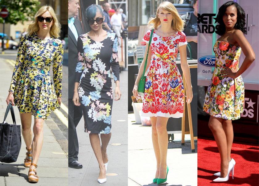Gwiazdy w sukienkach w kwiatki