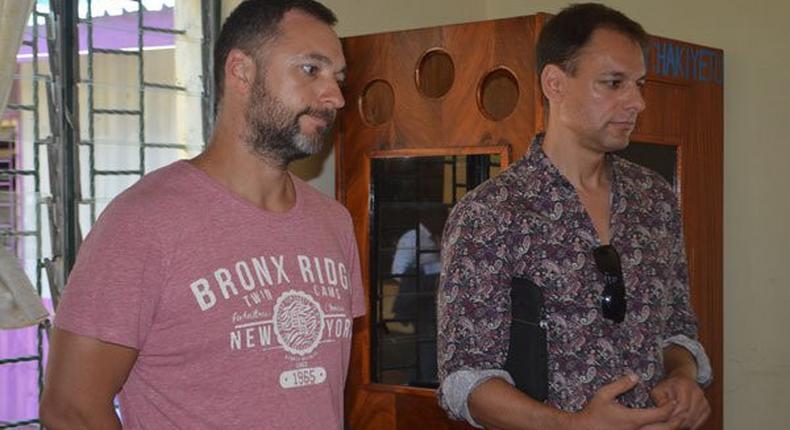 Ukrainian Wectabe Shestavetskyi (left) and German Zerbin Sascha Marius Waldermar appear before a Shanzu court (Twitter)