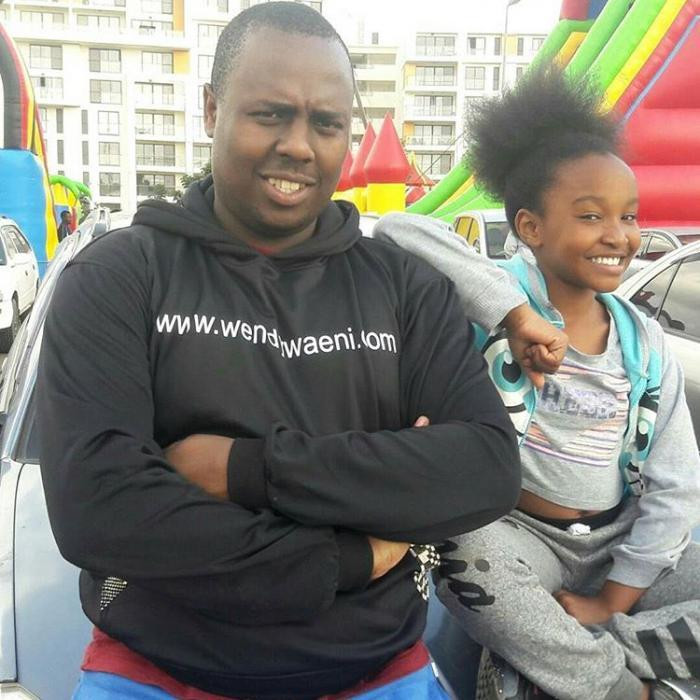Child acrobat Wendy Waeni with her ex manager Joe Mwangi