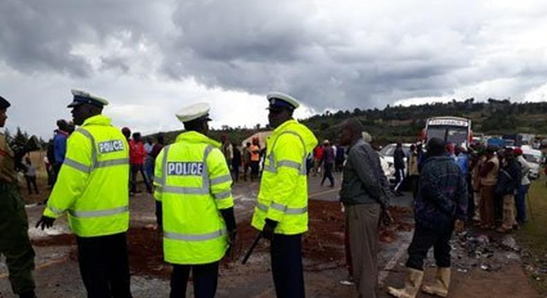 Police officers at an accident scene