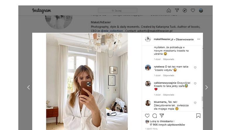 Widok postu na Instagramie Katarzyny Tusk