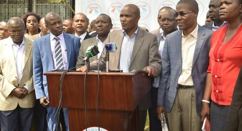 Nasa MPs led by ODM Chairman John Mbadi during a past media briefing