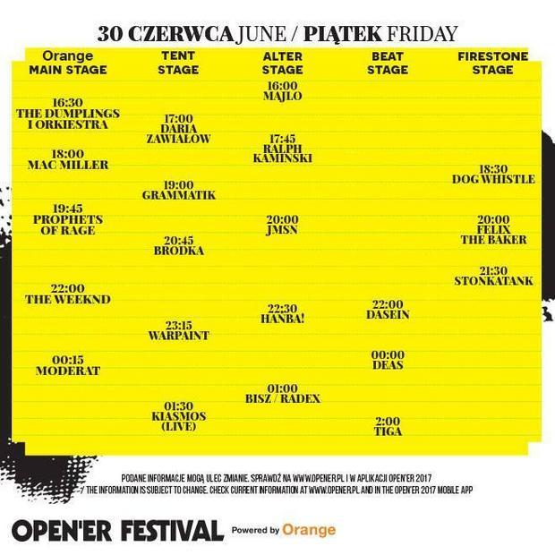Open'er Festival 2017: rozpiska godzinowa na piątek, 30 czerwca
