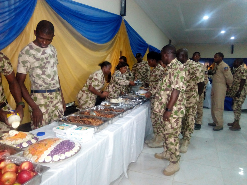 Air Marshal, Sadique Abubakar, the Chief of Air Staff (CAS) holds Easter feast for personnel engaged in the war against Boko Haram insurgents, on Monday in Maiduguri (NAN Photos)