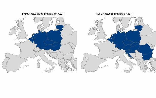 PKP Cargo przed i po przejęciu AWT [MAPA]