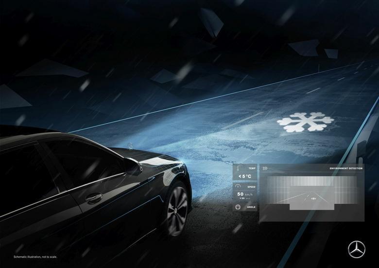 Mercedes Digital Light - ostrzeganie o śliskiej nawierzchni