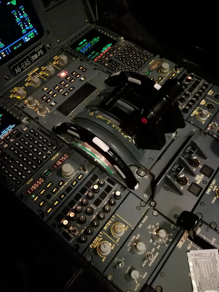 Dźwignie przepustnicy, trymer steru wysokości, dźwignia klap, komputer pokładowy, radio to tylko część przyrządów, które mam w zasięgu ręki.
