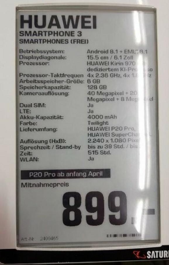Specifikacije Huavej P20 Pro