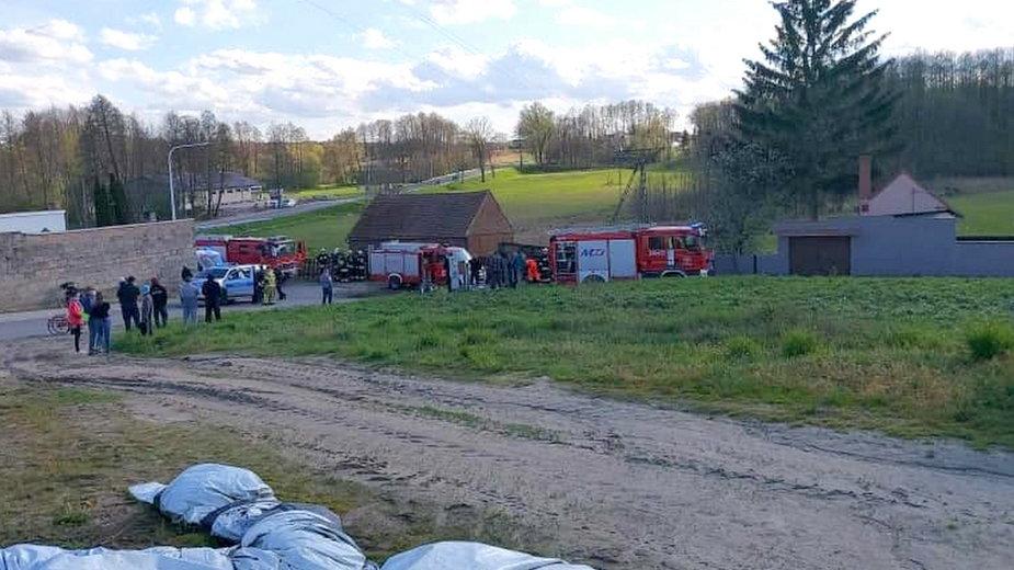 Ciągnik rolniczy spadł ze skarpy fot. OSP Nowe Kramsko