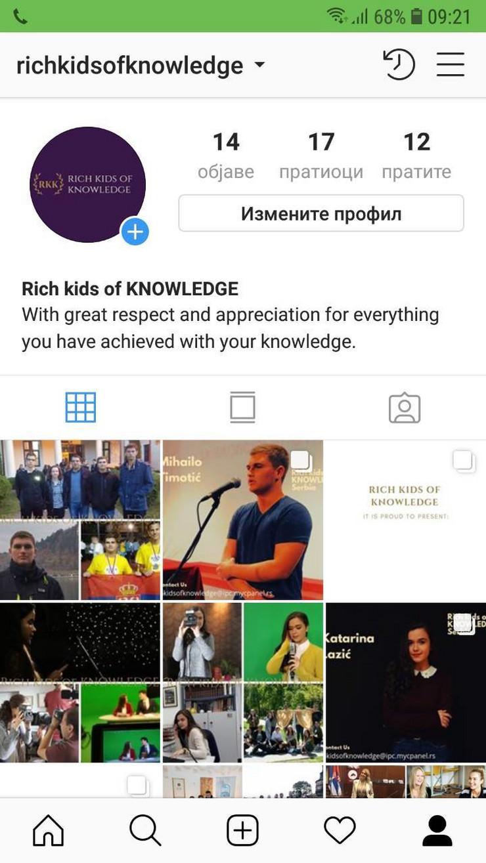 Deca bogata znanjem Instagram profil