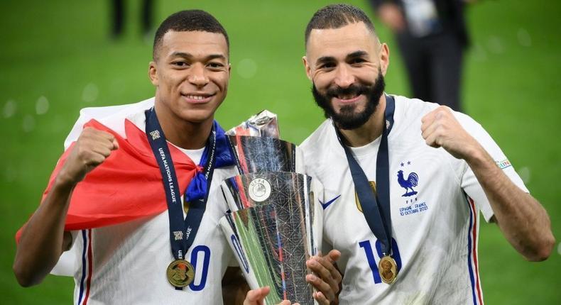 Match winners: Kylian Mbappe and Karim Benzema Creator: FRANCK FIFE