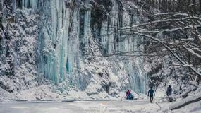 """Nieopodal Rymanowa Zdroju sfotografowano przepiękny """"lodospad"""""""
