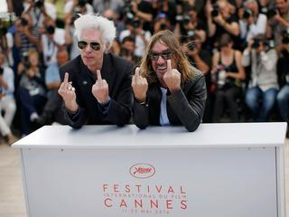 "Director Jim Jarmusch and singer Iggy Pop pose during a photocall for the film ""Gimme Danger"" out of"