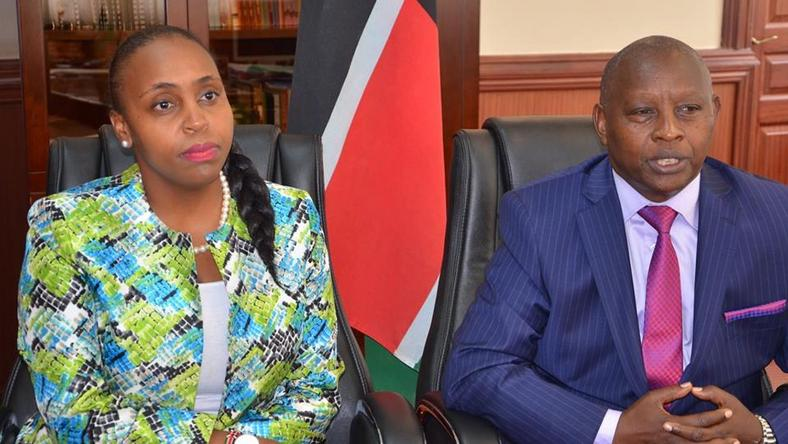 Nyeri Governor Mutahi Kahiga (R) with his DG Carol Karugu (L)
