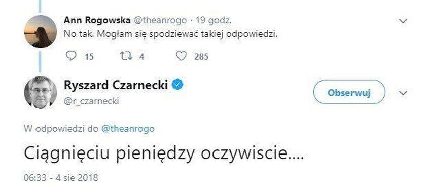 Czarnecki wulgarnie do internautki. Głupio się tłumaczy