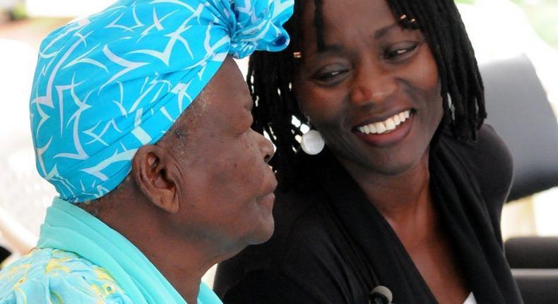 The late Mama Sarah Onyango Obama with President Barrack Obama's half sister Auma Obama