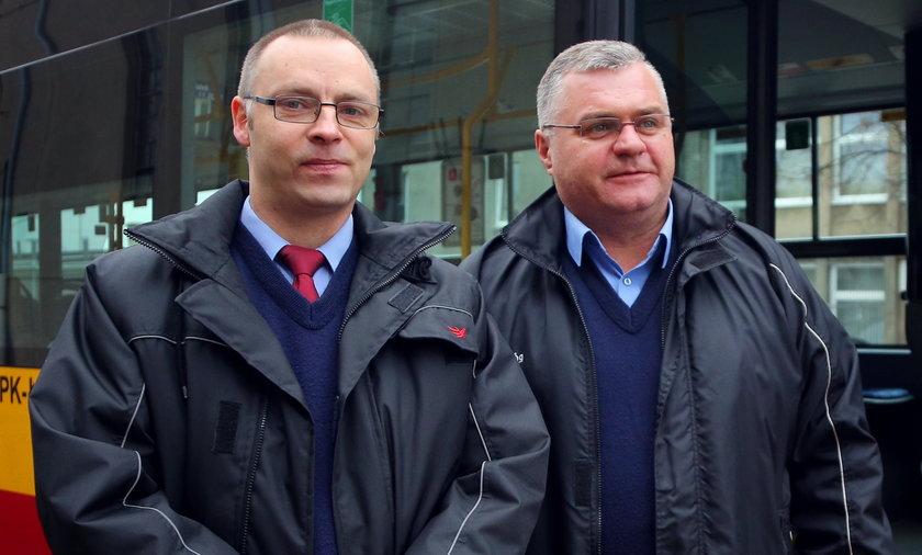 bohaterscy kierowcy MPK Łódż Maciej Rzeźniczak i Robert Nowakowski