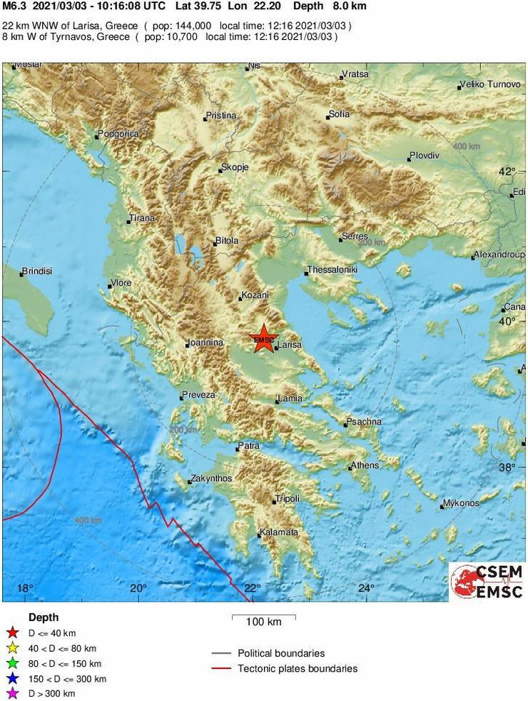 Grčka zemljotres mapa