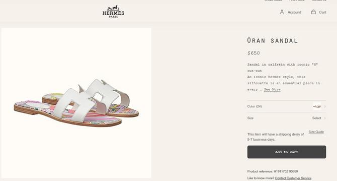 Hermes papuče