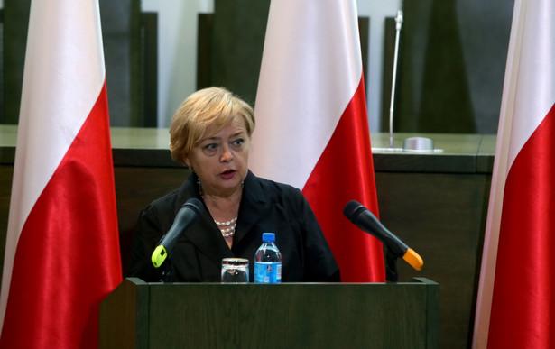 Pierwsza Prezes Sądu Najwyższego Małgorzata Gersdorf przedstawia sprawozdanie z działalności SN w ubiegłym roku, podczas dorocznego Zgromadzenia Ogólnego Sędziów Sądu Najwyższego