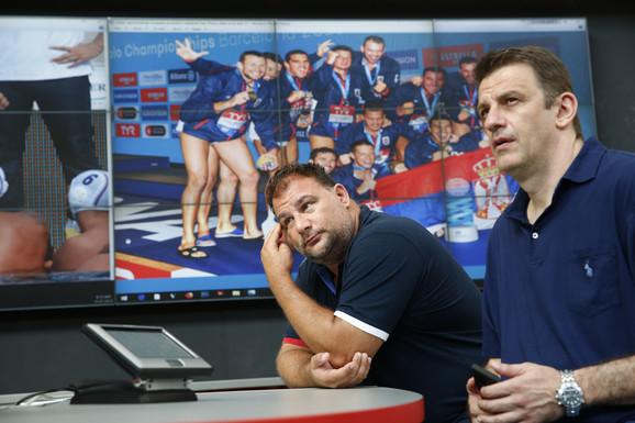 Selektor Dejan Savić i predsednik Vaterpolo saveza Srbije, Viktor Jelenić, u redakciji