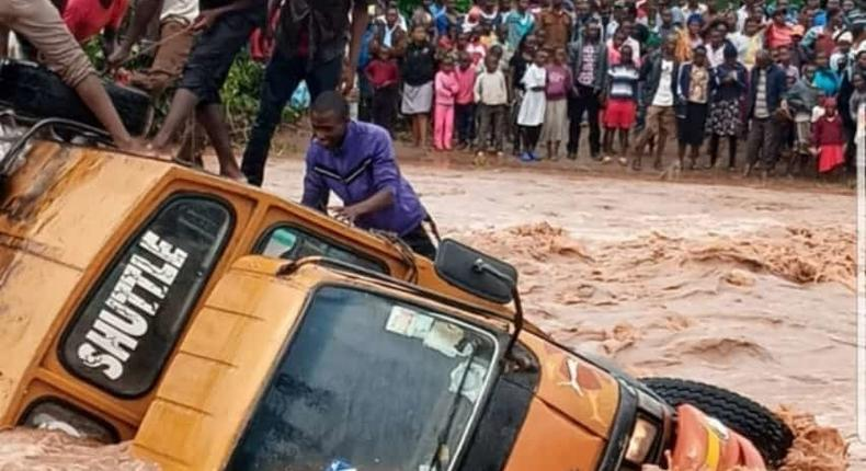 46-seater matatu with passengers plunges into flooded River Kyamela, Makueni County