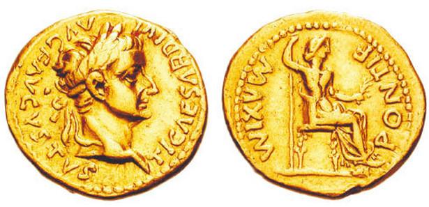 Aureus z wizerunkiem Tyberiusza, 14-37 rok n.e.