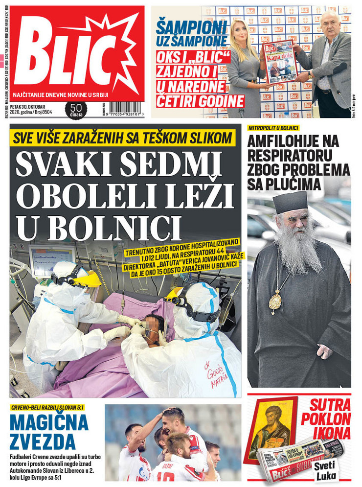 Najnovija naslovna 30.10.2020 Blic