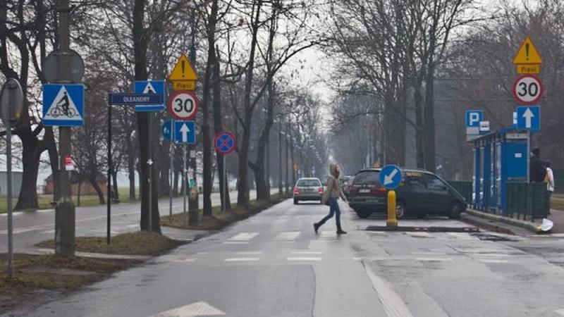 Las znaków przy drodze