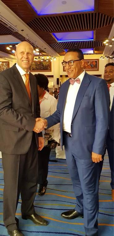 Andreas Flückiger, General Manager, Mövenpick Hotel & Residences Nairobi (L) with Tourism Cabinet Secretary Hon. Najib Balala at  a past event.