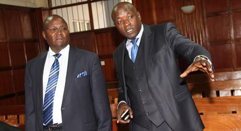 Lawyers Assa Nyakundi (L) and Cliff Ombeta (R) during a past appearance in court (Twitter)