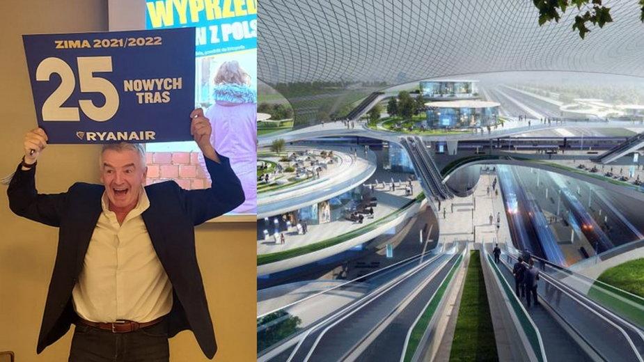 Prezes Ryanaira L'Oeary i wizualizacja CPK