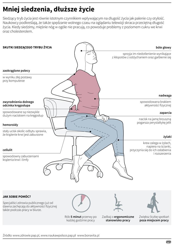 Siedzący tryb życia - infografika