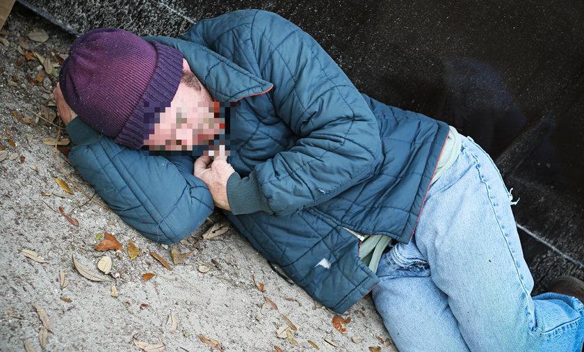 bezdomny, zima, ilustracja