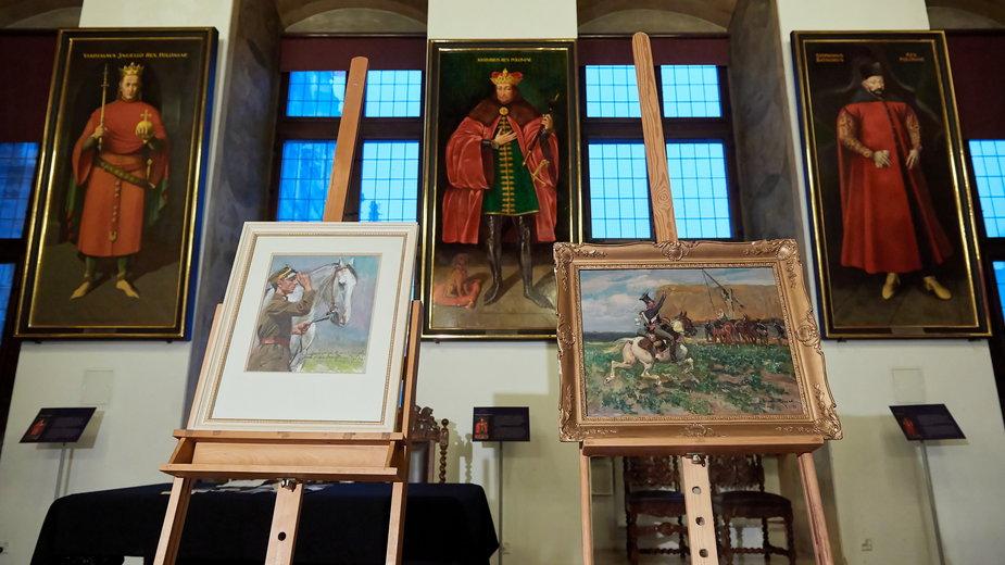 """Dwa obrazy Wojciecha Kossaka """"Żołnierz napoleoński na koniu"""" i """"Ułan z 3. Pułku Ułanów Śląskich"""" przekazane w darze dla Muzeum Gdańska"""