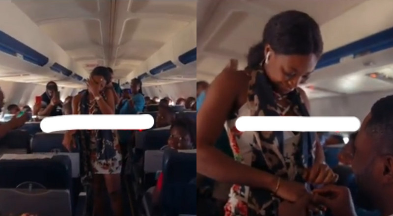 Despite's son Kennedy Osei proposes to his girlfriend on a plane (Watch)