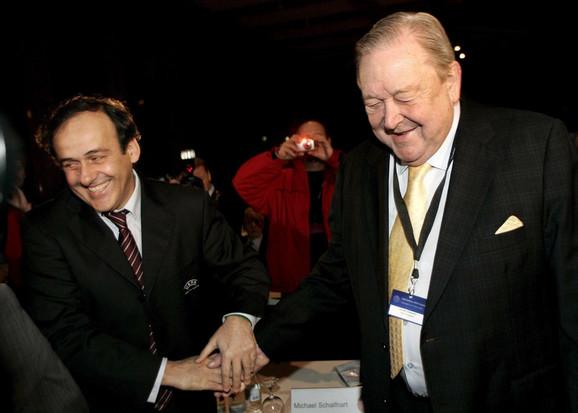 Mišel Platini sa Lenartom Johansonsom
