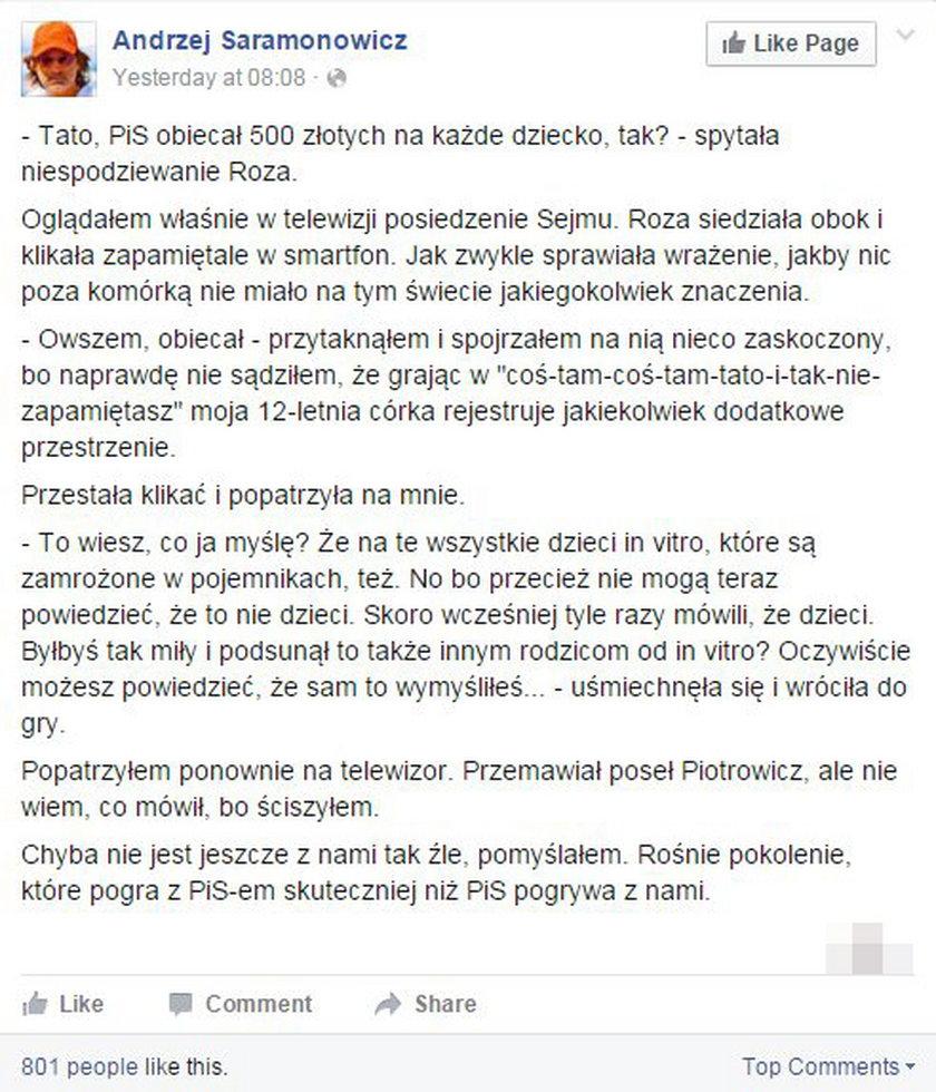 12-letnia córka Saramonowicza żelazną logiką rozprawia się z postulatem PiS