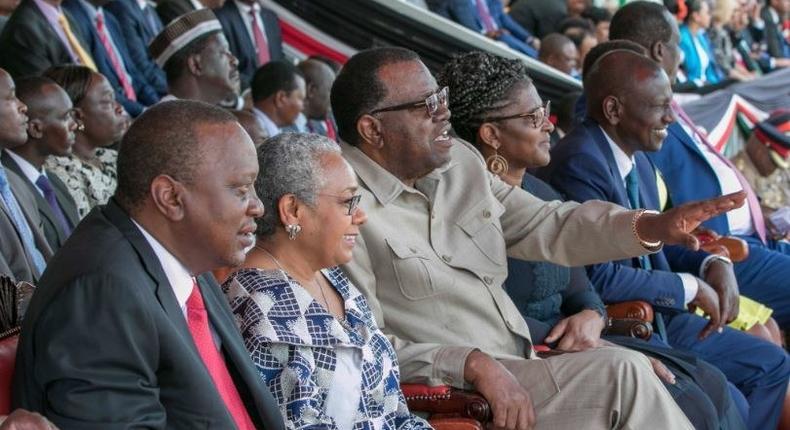 President Uhuru Kenyatta and other dignitaries at the Mashujaa Day Celebrations in Kakamega