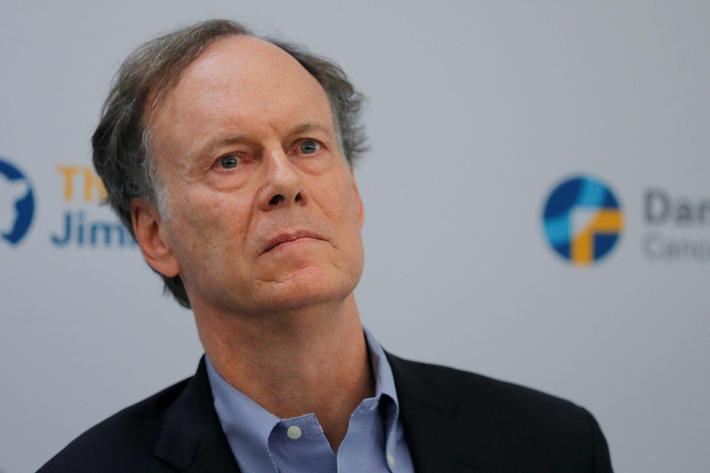 William G. Kaelin Jr., who won the 2019 Nobel Prize for Medicine, speaks at a news conference in Bos