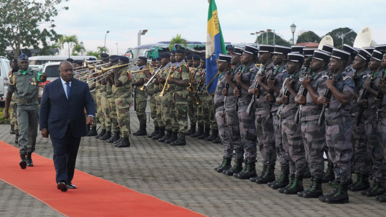 President Ali Bongo is paraded before the military in Gabon in 2017.