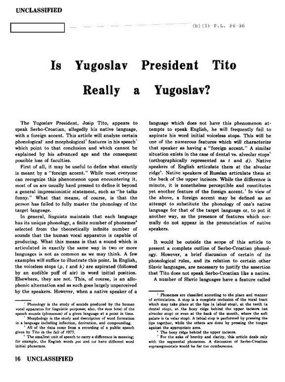 Dokument CIA o analizi Titovog izgovora