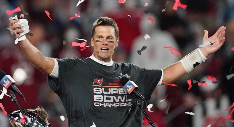 Tampa Bay Buccaneers quarterback Tom Brady following the Bucs' win at Super Bowl LIV.